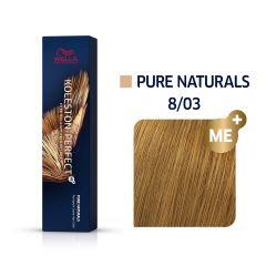 Wella Koleston Perfect Me+ Pure Naturals Természetes Arany Szőke Professzionális Hajfesték 8/03 60 ml