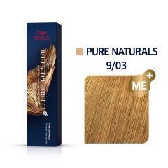 Wella Koleston Perfect Me+ Pure Naturals Világos Arany Szőke Professzionális Hajfesték 9/03 60 ml
